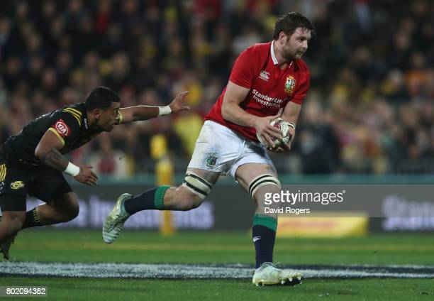 Iain Henderson of the Lions breaks with the ball during the match between the Hurricanes and the British Irish Lions at Westpac Stadium on June 27...