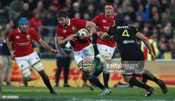 Iain Henderson of the Lions charges upfield during the match between the Hurricanes and the British Irish Lions at Westpac Stadium on June 27 2017 in...