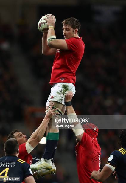 Iain Henderson of the Lions wins lineout ball during the 2017 British Irish Lions tour match between the Highlanders and the British Irish Lions at...