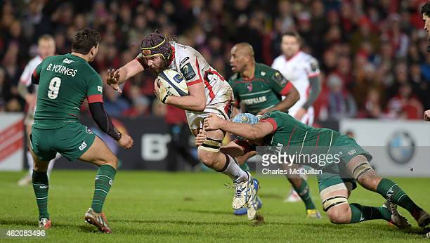 Iain Henderson of Ulster runs at the opposing defence during this afternoons European Rugby Champions Cup Pool 3 match at the Kingspan stadium on...