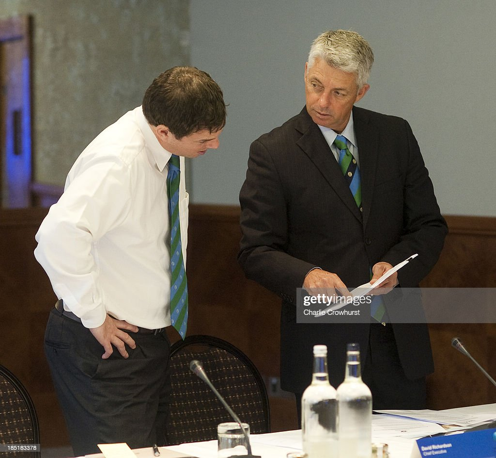 Iain Higgins chats with Cheif Executive David Richardson during the ICC Board Meeting at The Royal Garden Hotel on October 18, 2013 in London, England.