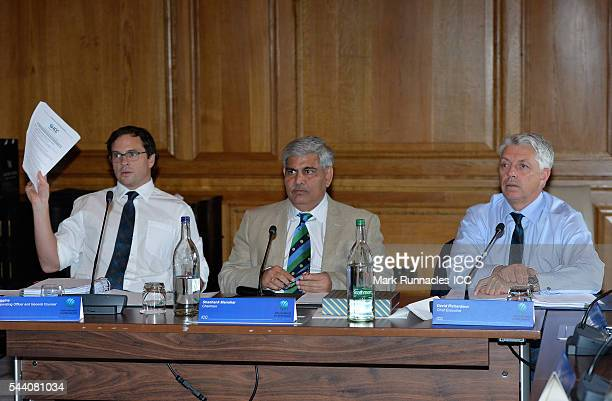 Iain Higgins Chief Operating Officer ICC Chairman Shashank Manohar and David Richardson ICC Chief Executive during a meeting of the ICC Board at The...