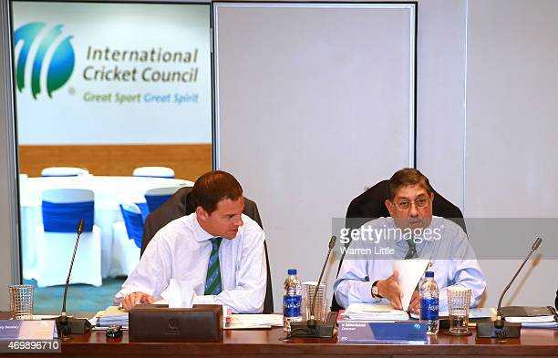Iain Higgins Head of Legal and Company Secretary ICC and Narayanaswami Srinivasan Chairman ICC chat during an ICC board meeting at the ICC...