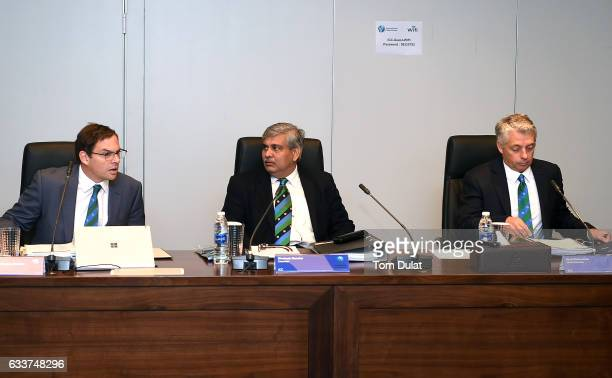 Iain Higgins ICC Cheif Operating Officer and Company Secretary Shashank Manohar ICC Chairman and David Richardson ICC Chief Executive attend ICC...