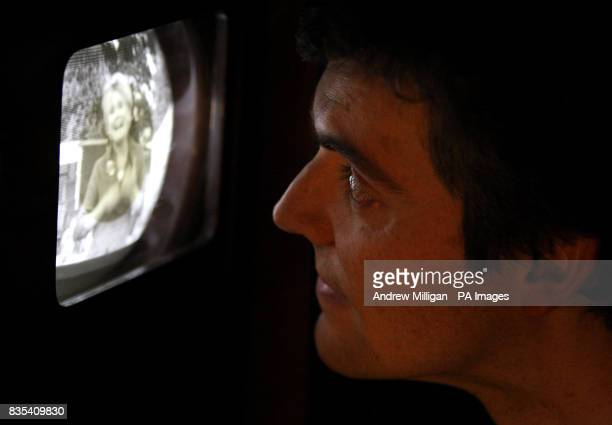 Iain Logie Baird the grandson of John Logie Baird who invented the very first television with a 1938 HMV 905 television using digital set top box in...