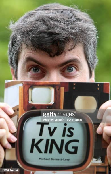 Iain Logie Baird the grandson of John Logie Baird who invented the very first television at a photocall where he viewed a 1938 HMV 905 television...