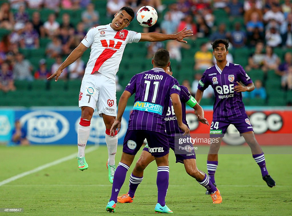 Iain Ramsay of the Heart heads the ball during the round 14 A-League match between Perth Glory and the Melbourne Heart at nib Stadium on January 10, 2014 in Perth, Australia.