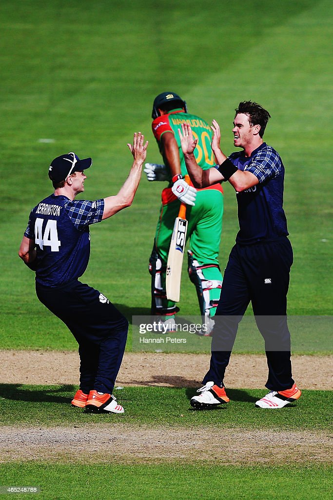 Iain Wardlaw of Scotland celebrates the wicket of Mohammad Mahmudullah of Bangladesh during the 2015 ICC Cricket World Cup match between Bangladesh and Scotland at Saxton Field on March 5, 2015 in Nelson, New Zealand.