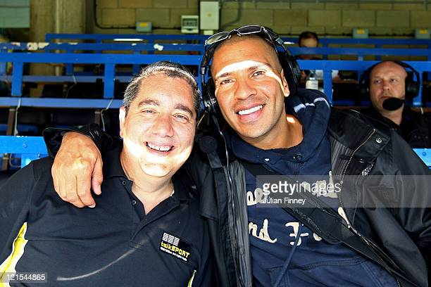 Ian Abrahams from Talksport Radio and Stan Collymore pose for the camera prior to kickoff during the Barclays Premier League match between Chelsea...