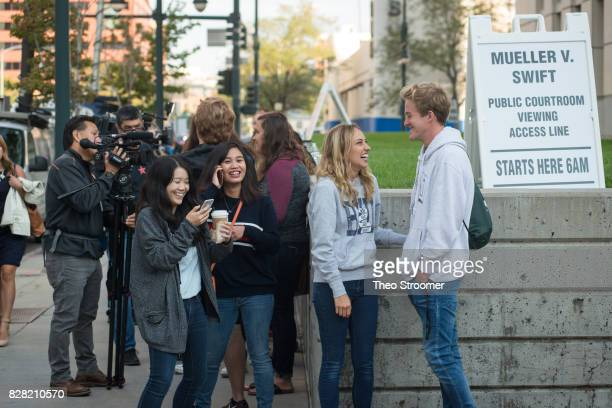 Ian and Lauren Simpson right and Hanna Gu left with Shantel Bartolome were some of the first people in line at the civil case for Taylor Swift vs...