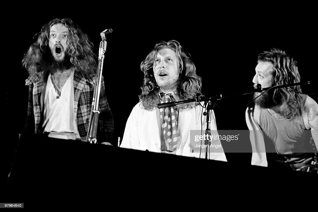 Ian Anderson, John Evan and Barriemore Barlow (aka Barrie Barlow) of Jethro Tull perform on stage on January 8th 1972 in Copenhagen, Denmark.