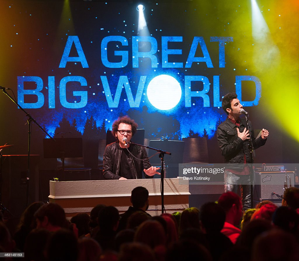 Ian Axel (L) and Chad Vaccarino (R) of A Great Big World at Highline Ballroom on January 16, 2014 in New York City.
