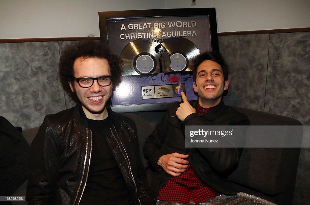 Ian Axel and Chad Vaccarino of A Great Big World celebrate the success of a recent project backstage at Highline Ballroom on January 16, 2014 in New York City.