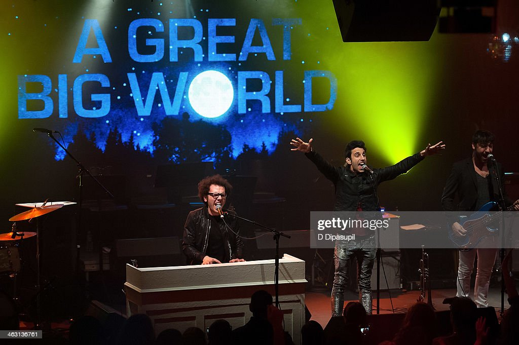 Ian Axel (L) and Chad Vaccarino of A Great Big World perform at Highline Ballroom on January 16, 2014 in New York City.