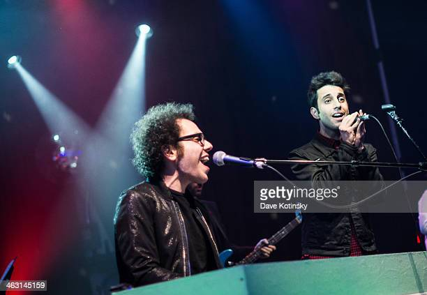 Ian Axel and Chad Vaccarino of A Great Big World perform at Highline Ballroom on January 16 2014 in New York City