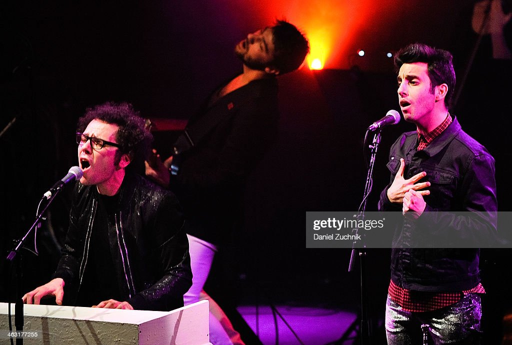 Ian Axel and Chad Vaccarino of A Great Big World perform at Highline Ballroom on January 16, 2014 in New York City.