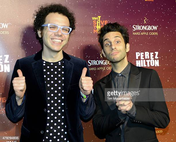 Ian Axel and Chad Vaccarino of A Great Big World pose at Perez Hilton's 7th annual One Night in Austin at the Austin Music Hall on March 15 2014 in...