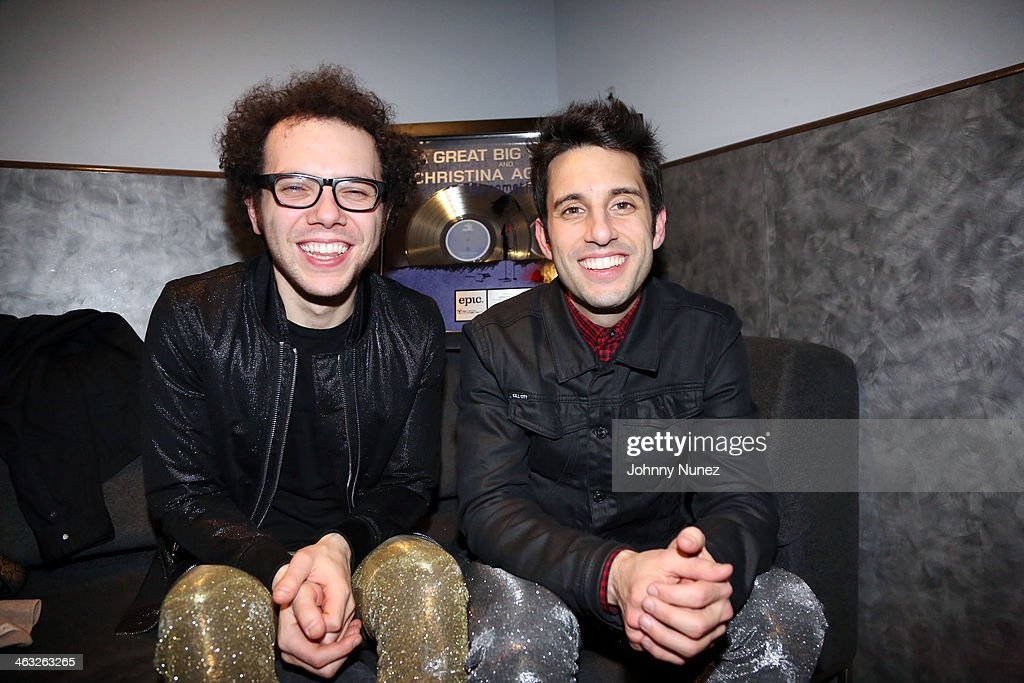 Ian Axel and Chad Vaccarino of A Great Big World pose for a picture backstage at Highline Ballroom on January 16, 2014 in New York City.