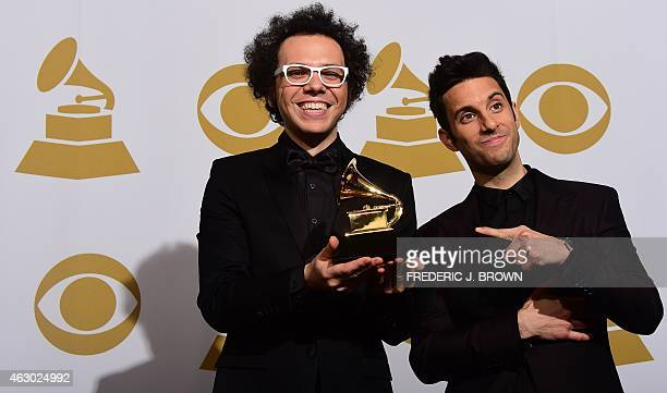 Ian Axel and Chad Vaccarino of A Great Big World pose in the press room after winning Best Pop Duo/Group performance for 'Say Something' during the...
