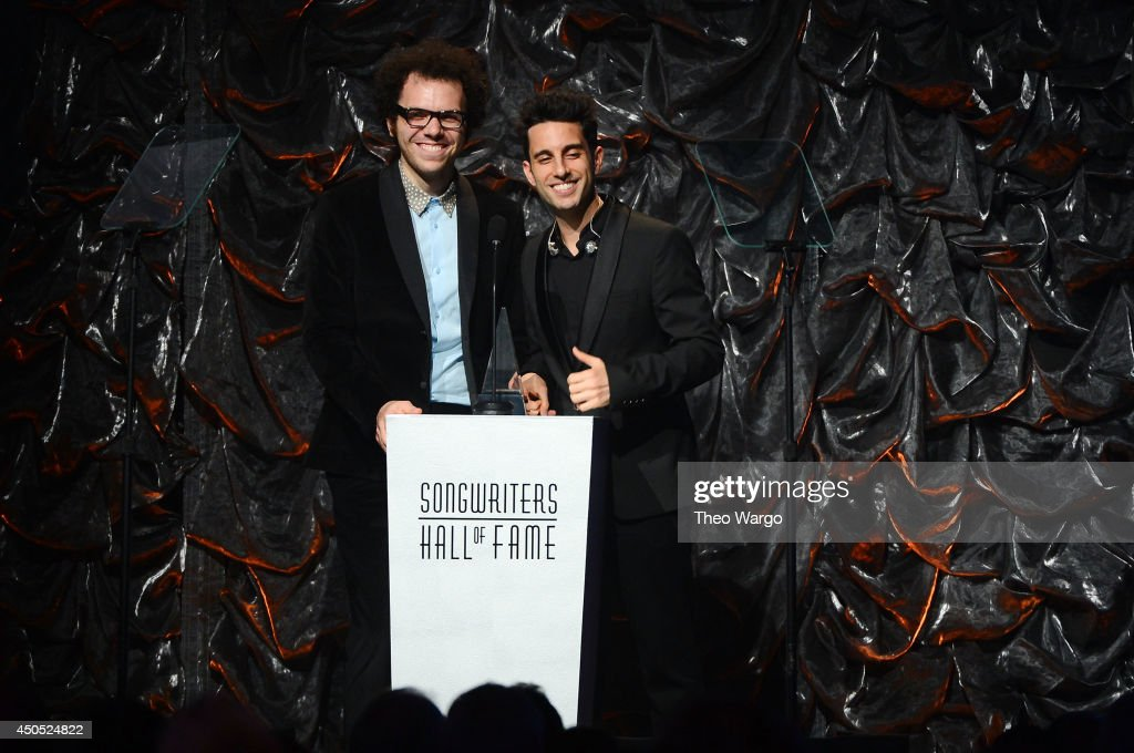 Ian Axel and Chad Vaccarino of A Great Big World speak onstage at the Songwriters Hall of Fame 45th Annual Induction and Awards at Marriott Marquis Theater on June 12, 2014 in New York City.