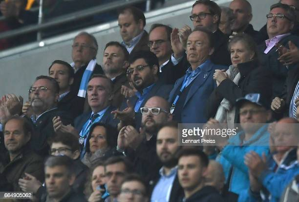 Ian Ayre managing director of TSV 1860 Muenchen investor Hasan Ismaik and Peter Cassalette president of 1860 Muenchen watch the Second Bundesliga...