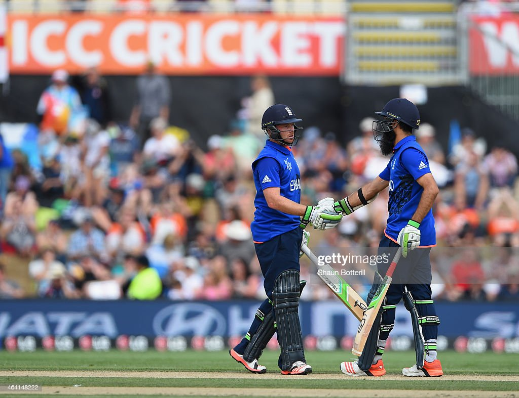 Ian Bell and Moeen Ali of England reach their 50 partnership during the 2015 ICC Cricket World Cup match between England and Scotland at Hagley Oval...