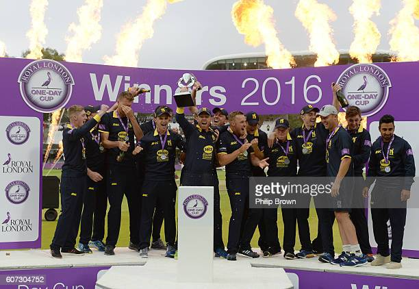 Ian Bell lifts the trophy after Warwickshire won the Royal London oneday cup final cricket match between Warwickshire and Surrey at Lord's cricket...