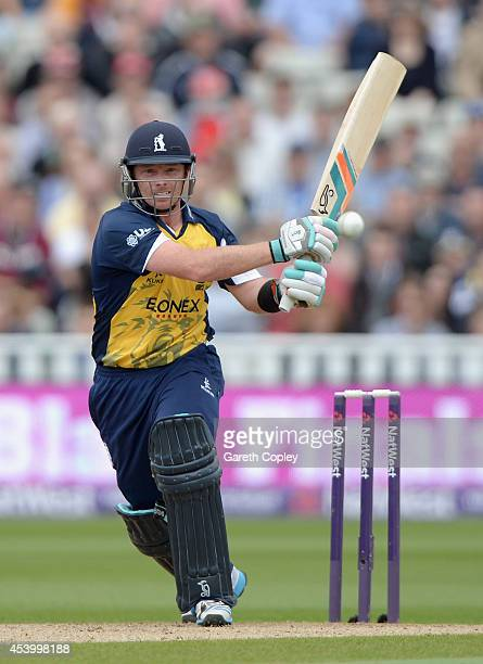 Ian Bell of Birmingham Bears bats during the Semi Final Natwest T20 Blast match between Birmingham Bears and Surrey at Edgbaston on August 23 2014 in...