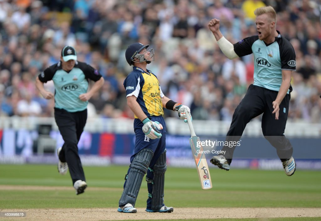<a gi-track='captionPersonalityLinkClicked' href=/galleries/search?phrase=Ian+Bell&family=editorial&specificpeople=206128 ng-click='$event.stopPropagation()'>Ian Bell</a> of Birmingham Bears reacts after being bowled by Matt Dunn of Surrey during the Semi Final Natwest T20 Blast match between Birmingham Bears and Surrey at Edgbaston on August 23, 2014 in Birmingham, England.