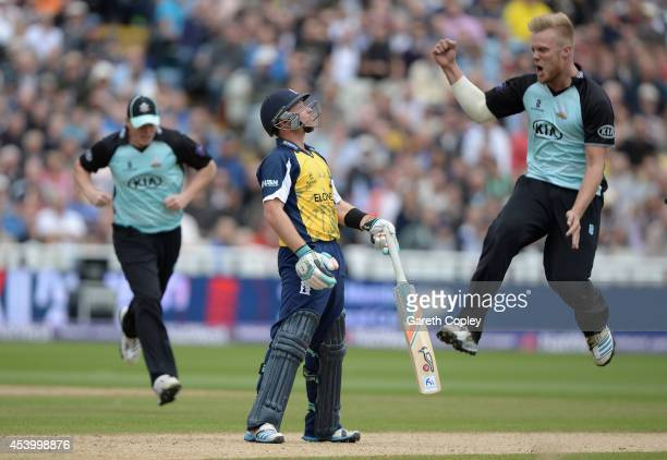 Ian Bell of Birmingham Bears reacts after being bowled by Matt Dunn of Surrey during the Semi Final Natwest T20 Blast match between Birmingham Bears...