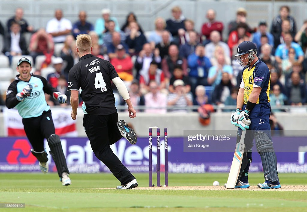 <a gi-track='captionPersonalityLinkClicked' href=/galleries/search?phrase=Ian+Bell&family=editorial&specificpeople=206128 ng-click='$event.stopPropagation()'>Ian Bell</a> of Birmingham Bears reacts after being bowled out by Matthew Dunn of Surrey during the Natwest T20 Blast Semi Final match between Birmingham Bears and Surrey at Edgbaston on August 23, 2014 in Birmingham, England.