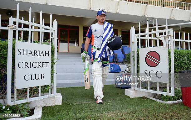 Ian Bell of England arrives for a net session at Sharjah Cricket Stadium on October 4 2015 in Sharjah United Arab Emirates