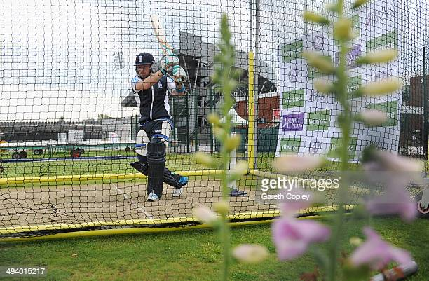 Ian Bell of England bats during a nets session at Old Trafford on May 27 2014 in Manchester England