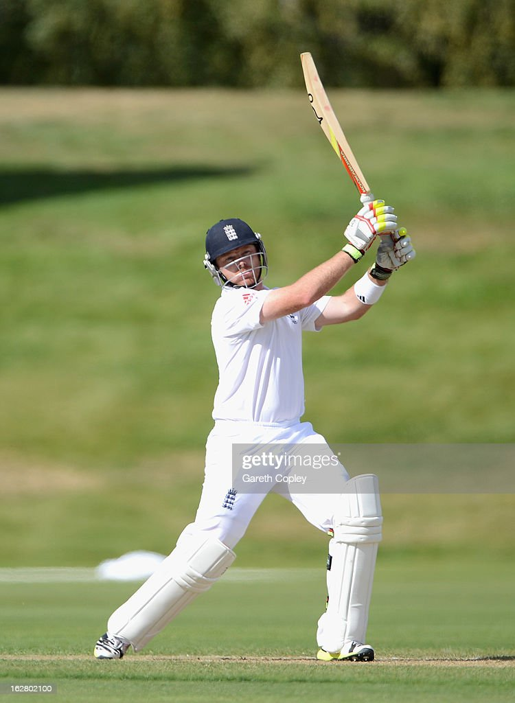 Ian Bell of England bats during day two of the International tour match between the New Zealand XI and England at Queenstown Events Centre on February 28, 2013 in Queenstown, New Zealand.