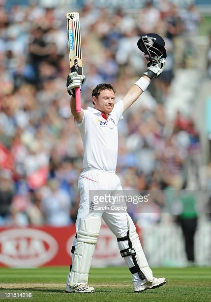 Ian Bell of England celebrates his 200 runs during day three of the 4th npower Test Match between England and India at The Kia Oval on August 20 2011...