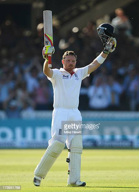 Ian Bell of England celebrates his century during day one of the 2nd Investec Ashes Test match between England and Australia at Lord's Cricket Ground...