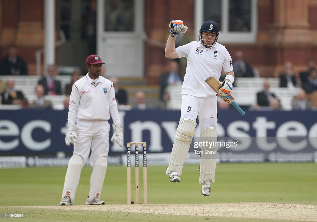 Ian Bell of England celebrates hitting the winning runs during day 5 of the 1st Investec Test match between England and West Indies at Lord's Cricket Ground on May 21, 2012 in London, England.