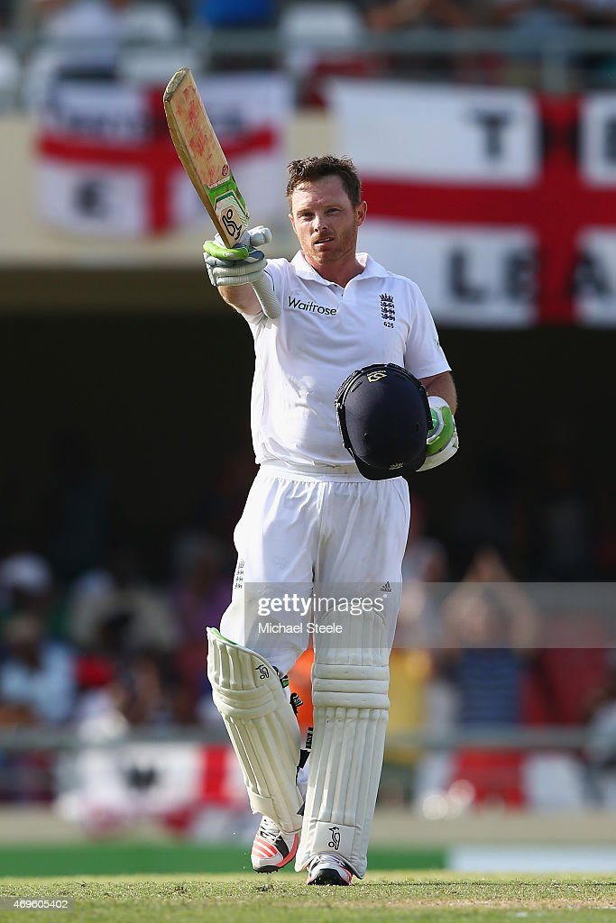 <a gi-track='captionPersonalityLinkClicked' href=/galleries/search?phrase=Ian+Bell&family=editorial&specificpeople=206128 ng-click='$event.stopPropagation()'>Ian Bell</a> of England celebrates reaching his century during day one of the 1st Test match between West Indies and England at the Sir Vivian Richards Stadium on April 13, 2015 in Antigua, Antigua and Barbuda.