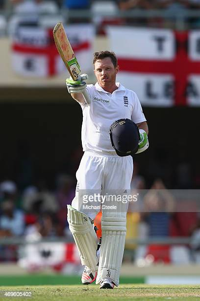 Ian Bell of England celebrates reaching his century during day one of the 1st Test match between West Indies and England at the Sir Vivian Richards...