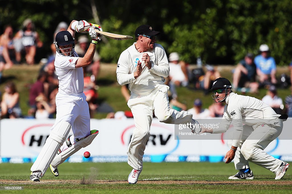 Ian Bell of England cuts the ball square during day five of the First Test match between New Zealand and England at University Oval on March 10, 2013 in Dunedin, New Zealand.