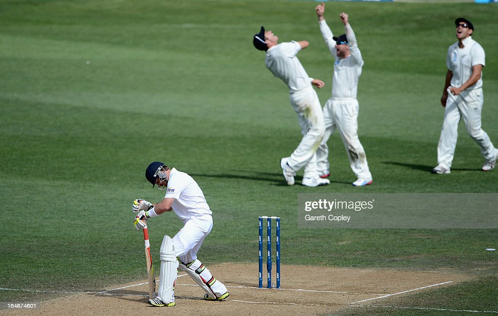 Ian Bell of England hangs his head after being caught out by Tim Southee of New Zealand during day five of the Third Test match between New Zealand and England at Eden Park on March 26, 2013 in Auckland, New Zealand.