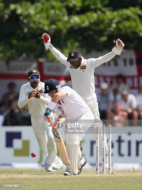Ian Bell of England is bowled out during day 2 of the 1st test match between Sri Lanka and England at Galle International Stadium on March 27 2012 in...