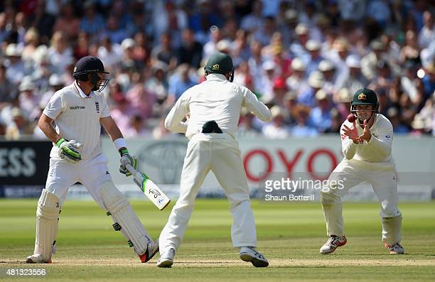 Ian Bell of England is caught by Shaun Marsh of Australia off the bowling of Nathan Lyon during day four of the 2nd Investec Ashes Test match between...