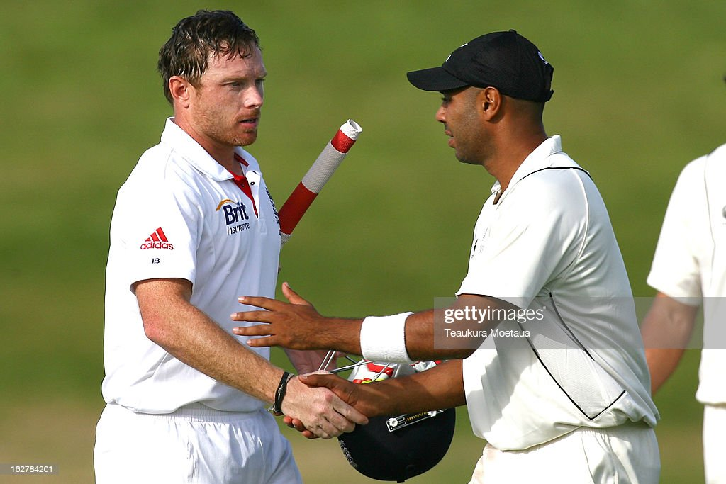 <a gi-track='captionPersonalityLinkClicked' href=/galleries/search?phrase=Ian+Bell&family=editorial&specificpeople=206128 ng-click='$event.stopPropagation()'>Ian Bell</a> (L) of England is congratulated by Jeetan Patel (R) of New Zealand XI after the International tour match between New Zealand XI and England at Queenstown Events Centre on February 27, 2013 in Queenstown, New Zealand.
