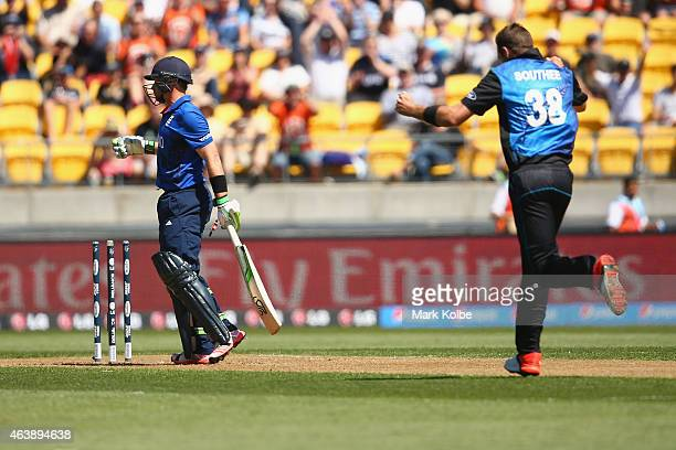 Ian Bell of England looks dejected after being bowled by Tim Southee of New Zealand during the 2015 ICC Cricket World Cup match between England and...