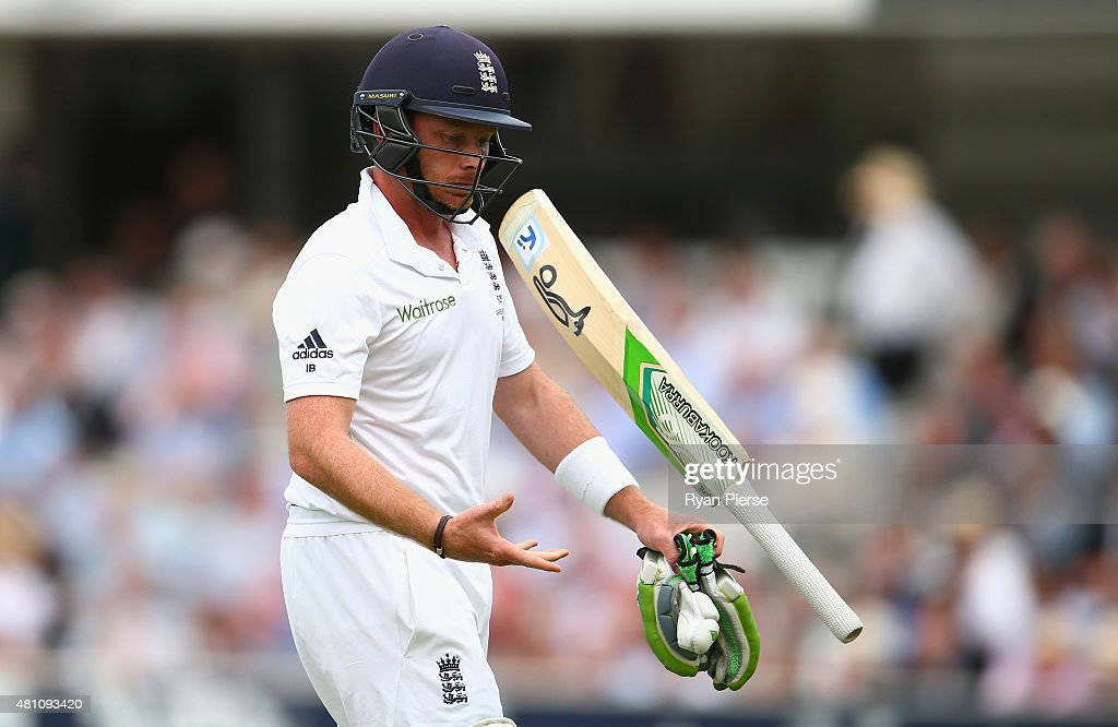 <a gi-track='captionPersonalityLinkClicked' href=/galleries/search?phrase=Ian+Bell&family=editorial&specificpeople=206128 ng-click='$event.stopPropagation()'>Ian Bell</a> of England looks dejected after being dismissed by Josh Hazlewood of Australia during day two of the 2nd Investec Ashes Test match between England and Australia at Lord's Cricket Ground on July 17, 2015 in London, United Kingdom.