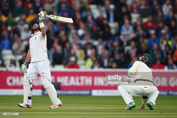 Ian Bell of England looks up as he skies a delivery off Nathan Lyon and is caught by David Warner during day one of the 3rd Investec Ashes Test match...