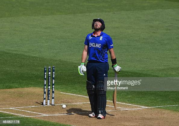 Ian Bell of England loses his wicket for 49 during the 2015 ICC Cricket World Cup match between England and Sri Lanka at Wellington Regional Stadium...