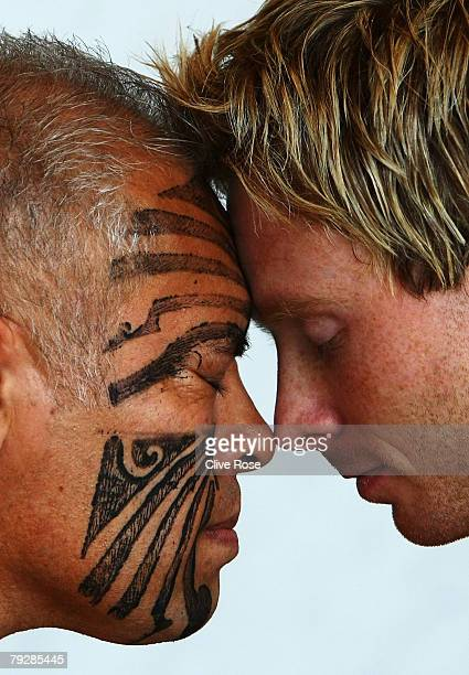 Ian Bell of England participates in the traditional Maori welcome ceremony at the team hotel on January 28 2008 in Christchurch New Zealand