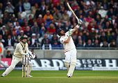 Ian Bell of England plays a shot before being caught by David Warner of Australia off the bowling of Nathan Lyon of Australia during day one of the...